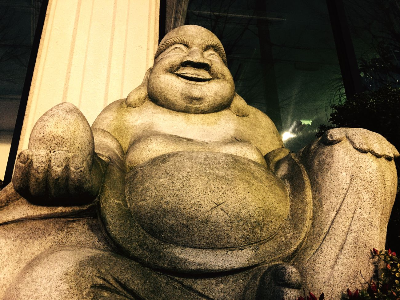 God Smile Statue Stone Art God's Beauty Smile :) Smiling Japan&Asian god.His name Hotei San. Hoteisama