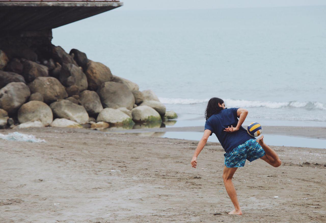 Athleisure Football Soccer Soccer⚽ Soccer Life Game Football Game Beach Caspian Sea Shomal North Iran Boy Play Ball Shore Beach Life Athlete Athletic Sand Sport Rocks Rocks And Water Open Edit