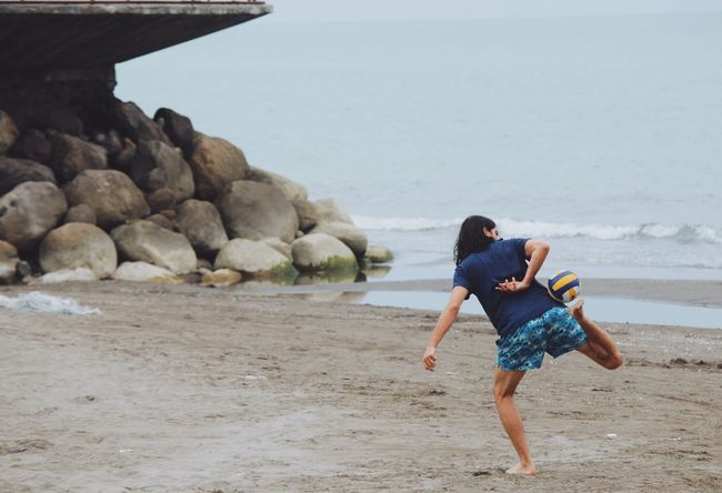Athleisure Football Soccer Soccer⚽ Soccer Life Game Football Game Beach Caspian Sea Shomal North Iran Boy Play Ball Shore Beach Life Athlete Athletic Sand Sport Rocks Rocks And Water