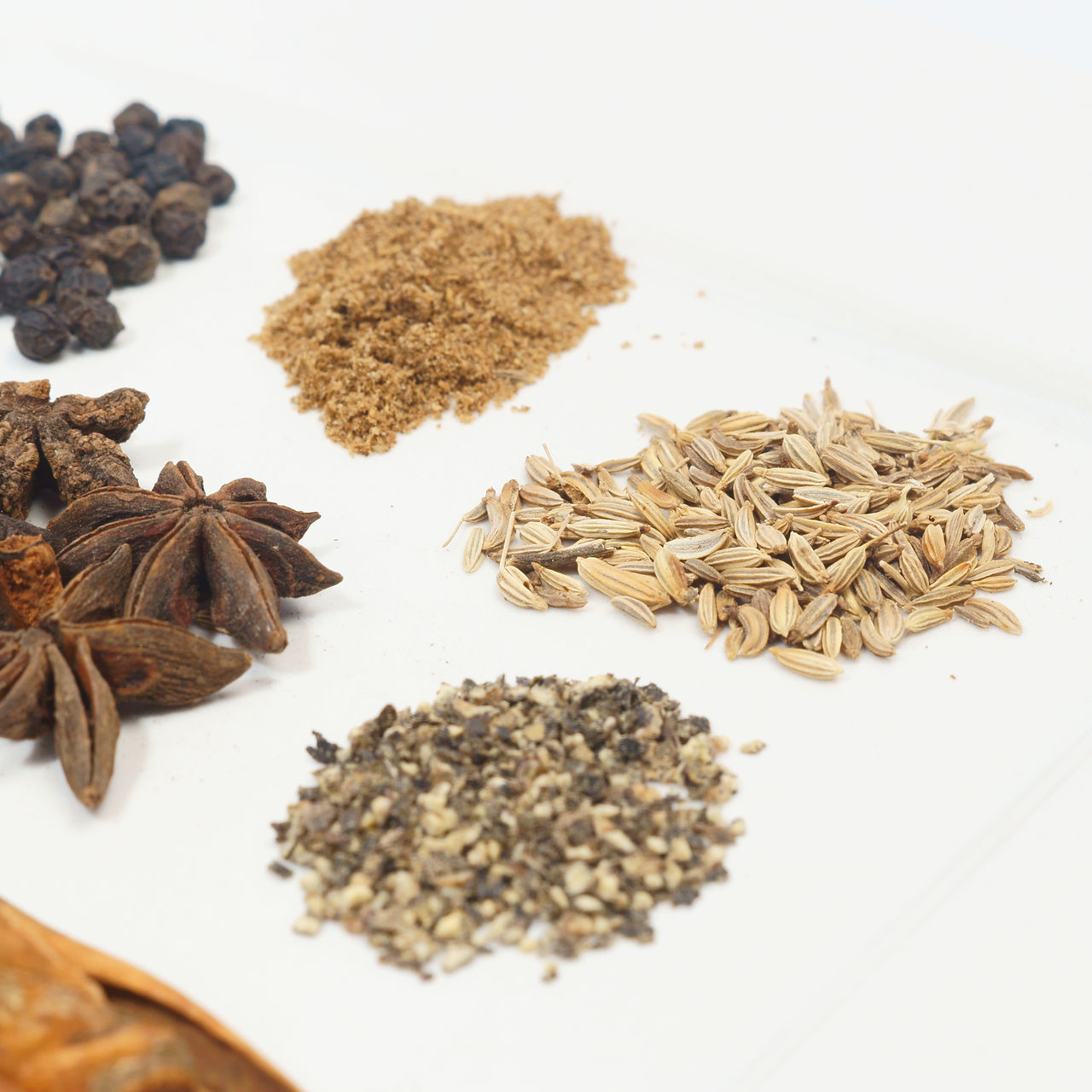 food and drink, spice, ingredient, food, cardamom, studio shot, white background, star anise, no people, black peppercorn, close-up, freshness, healthy eating, indoors