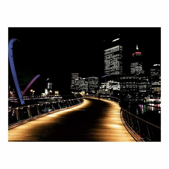 Architecture Built Structure Building Exterior Night Illuminated Transfer Print City Auto Post Production Filter Bridge - Man Made Structure Skyscraper Transportation Connection Engineering The Way Forward Tall - High Tower Financial District  Urban Skyline Modern Growth Elizabeth Quay Perth Perthcity