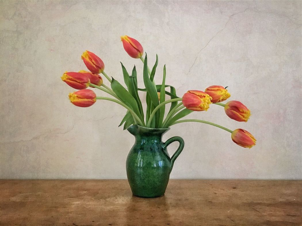 Still Life Tulips Green Vase Cracked Paint Red Yellow Flowers Flower Photography Fine Art Photography