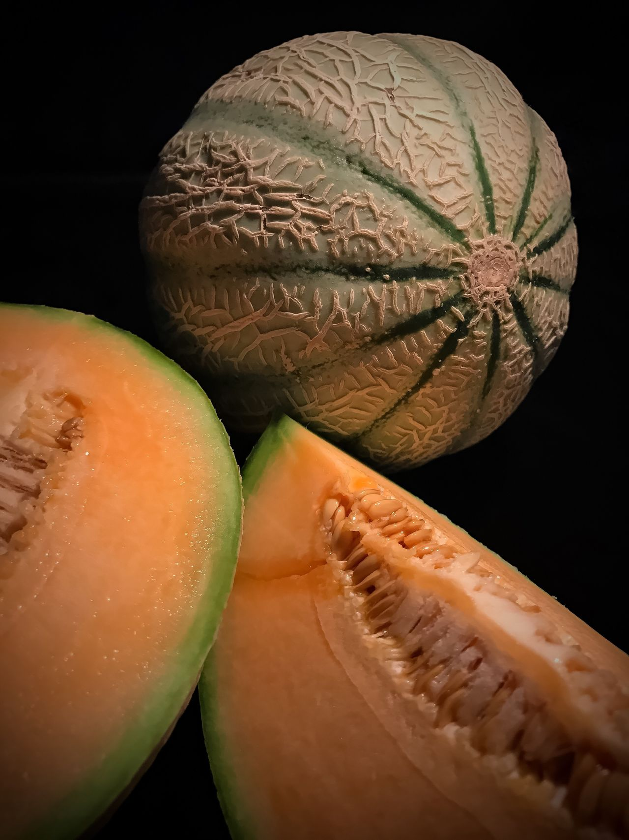 Food Food And Drink Freshness Healthy Eating Close-up No People Indoors  Black Background Cantaloupe Studio Shot Studio Studio Photography Melon Melons Cantaloupe Seeds