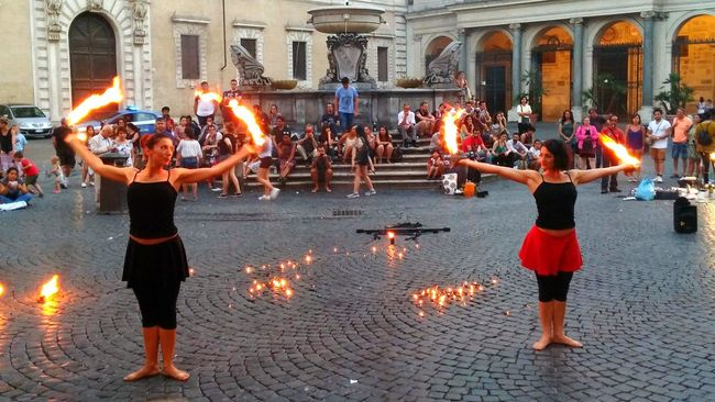 Girls Fire Show Dance Hot Vacations Outdoors Italy Rome Hotgirl Woman Power Woman Woman Of EyeEm Great Performance Centercity Street Photography Street Show, Dangerous Beauty Girls On Fire