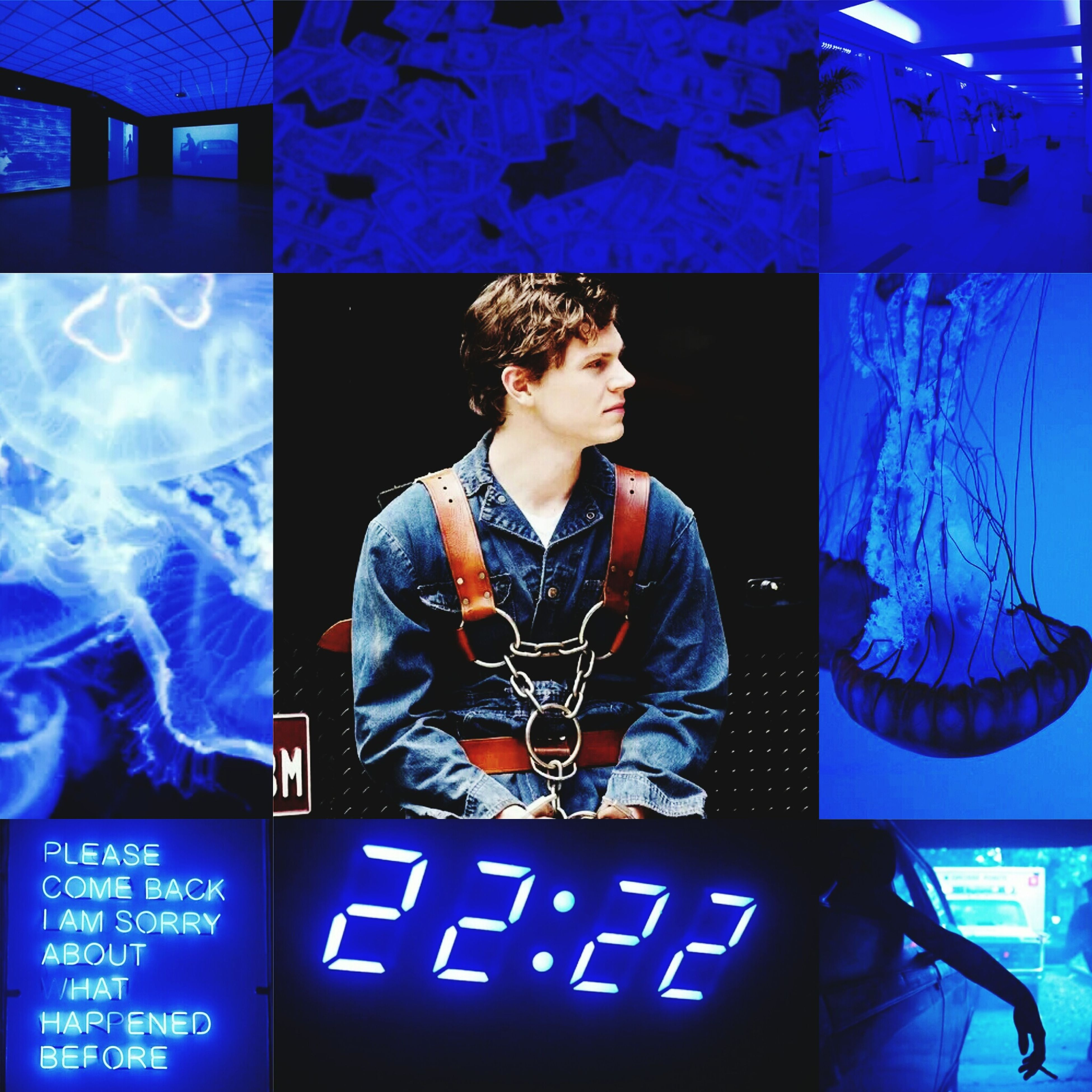 blue, illuminated, indoors, communication, lifestyles, text, waist up, leisure activity, casual clothing, night, three quarter length, standing, front view, western script, rear view, young men, men, built structure