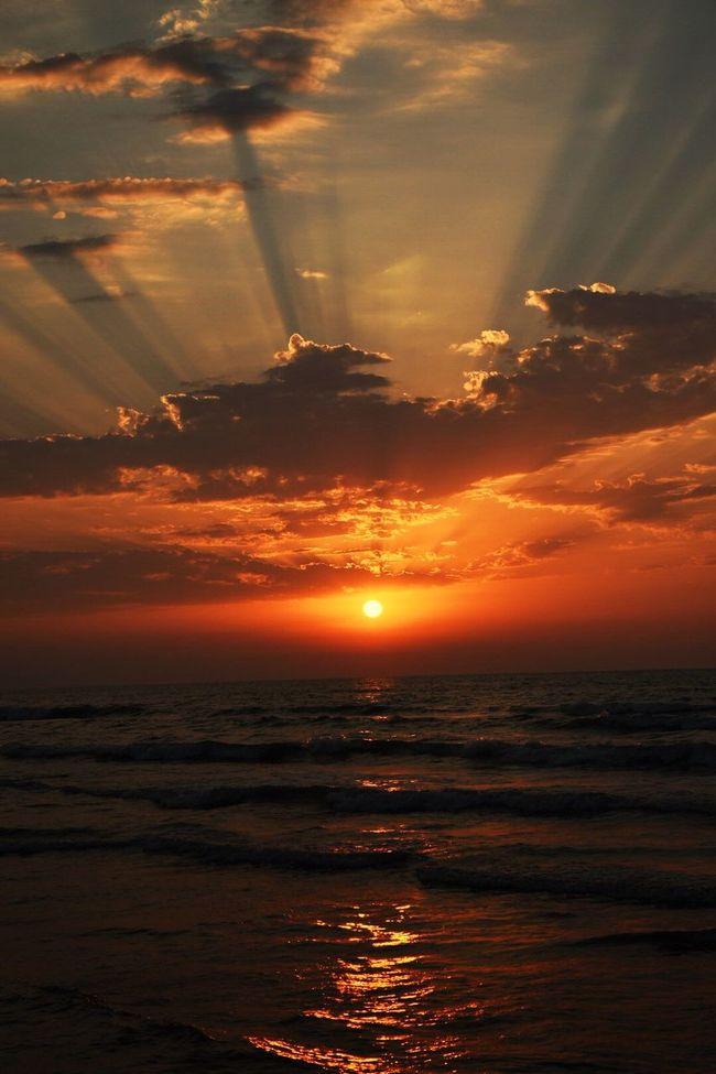 Colour Of Life Sea Blue Light Beams Caspian Sea Iran Beautiful Sundown Sunset