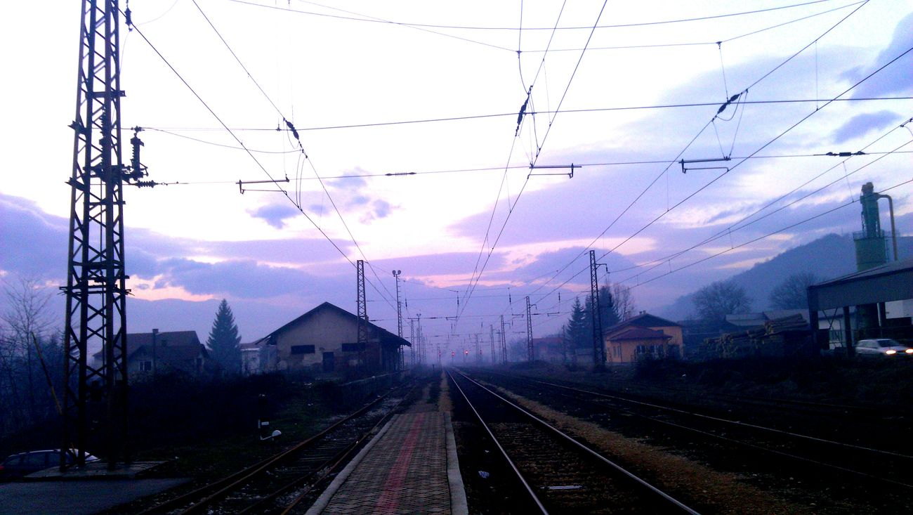 Bosnia And Herzegovina Visoko Train Station Light And Shadows Sky Electric Wires Railway Railwaystation Railway Station Pastel Power