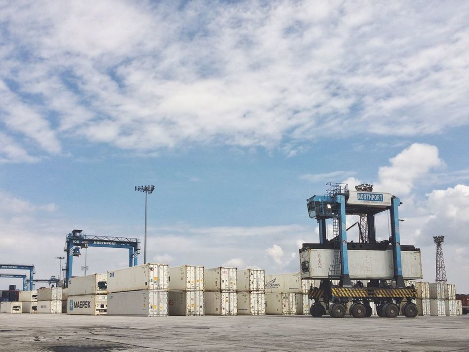 Sky Transportation Mode Of Transport Outdoors Cloud - Sky Industry Land Vehicle Built Structure No People Day Construction Vehicle Nature Industrial Equipment Northport Port Klang Container