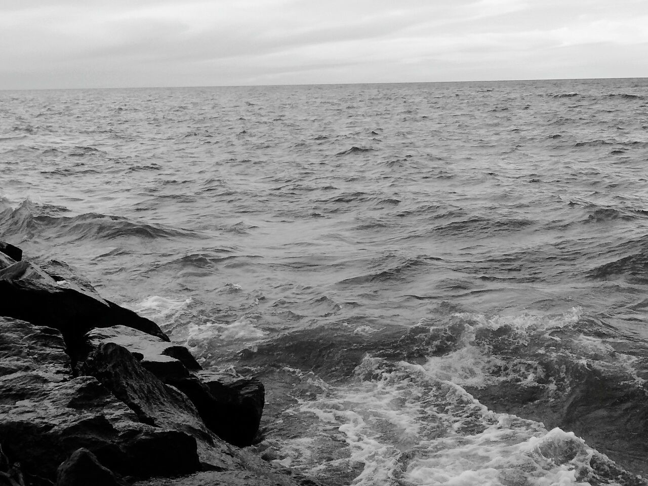 Lake Superior Lake Water Michigan Waves Nature Beautiful Black And White