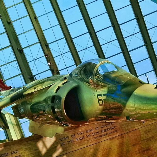 Harrier Jet suspended above in the National Museum of the Marine Corps. Marines Nation Museum Of The Marine Corps Semper-Fi Photography PhotographybyTripp Smartphonegraphy