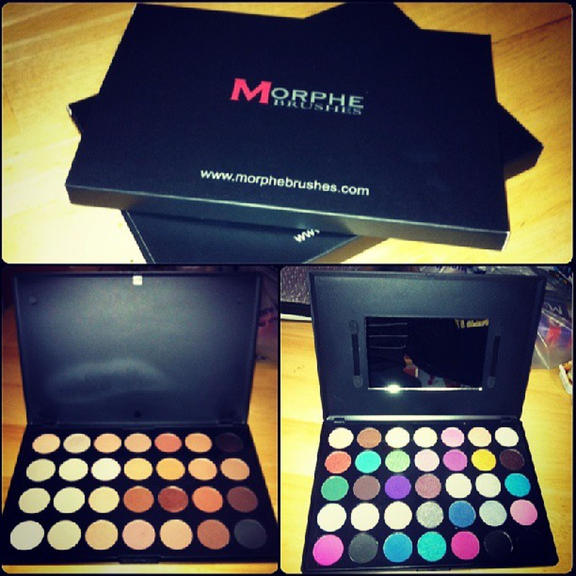 Since I wasn't able to attend the Beauty Expo yesterday or today he surprised me wit a little gift... 2 pallets of eyeshadows... <3 Womenissues Can 'tGetEnough Myobsession Makeup MorpheBrushes
