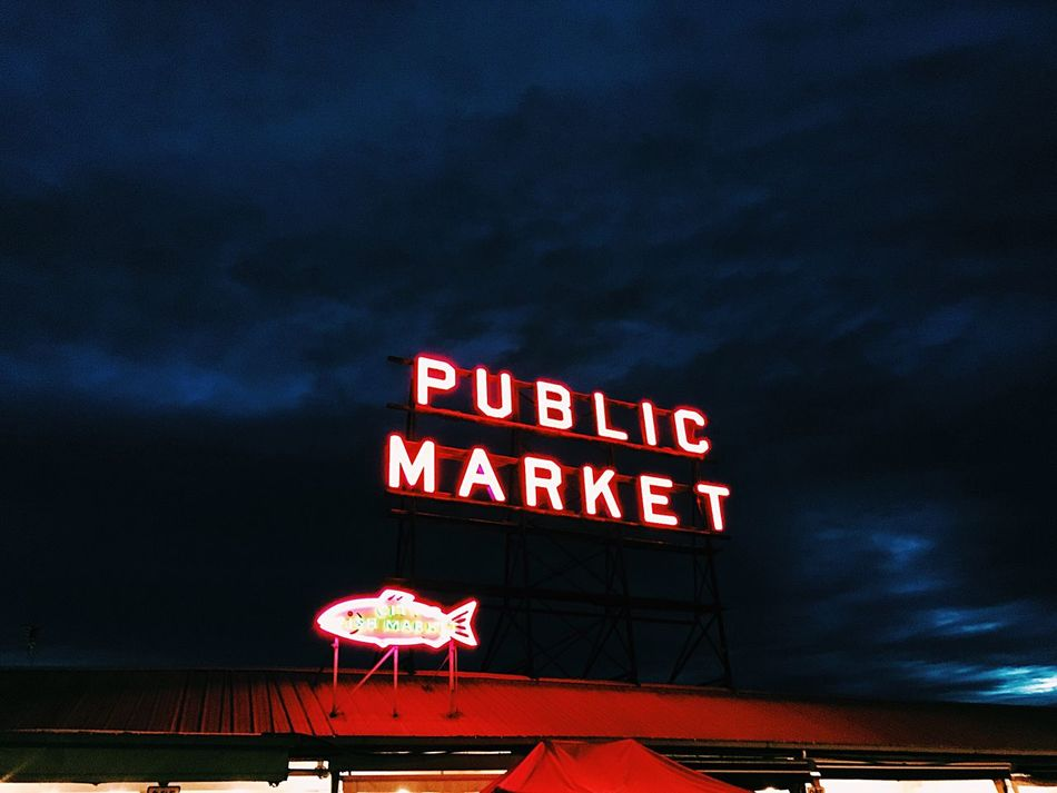 Night Illuminated Sky Outdoors Low Angle View Red No People Neon Seattle Washington Publicmarket EyeEmNewHere Downtown