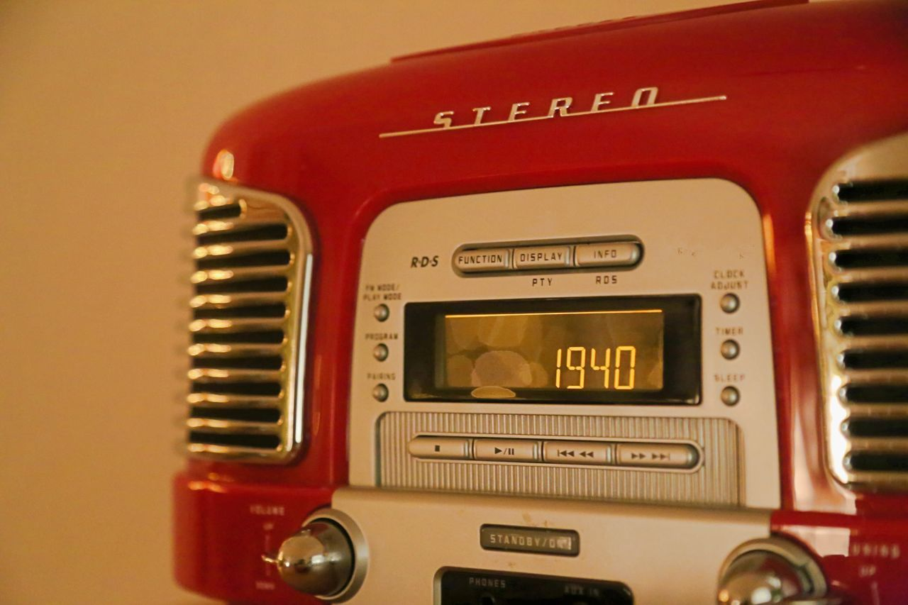 Close-up Communication Ghetto Blaster Indoors  No People Radio Red Sound Machine Technology Text