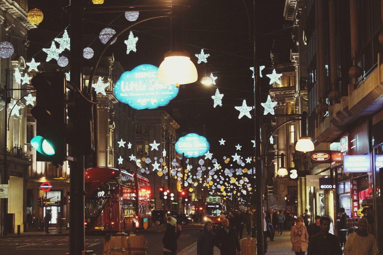 Traveling Home For The Holidays Illuminated London Christmas Decoration