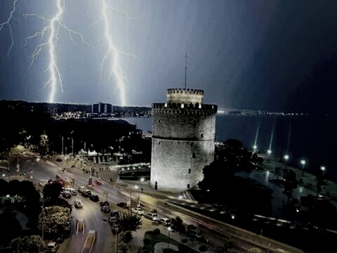Black And White Night View Thunder Thessaloniki Tower