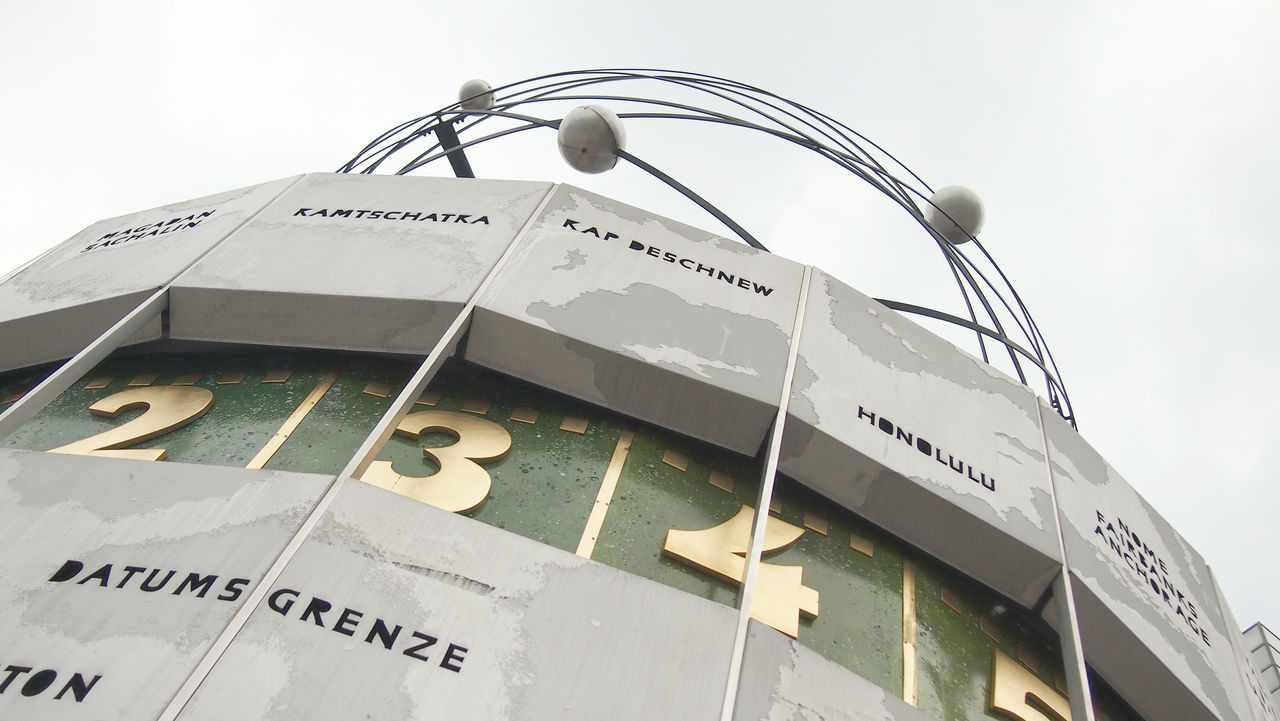 World Time Clock in Berlin, Alexanderplatz Architecture Berlin Berlin Alexanderplatz Berlin Photography Berliner Ansichten Berlinstagram Built Structure Close-up Communication Datumsgrenze Day Low Angle View No People Outdoors Phtography Text World Time Clock