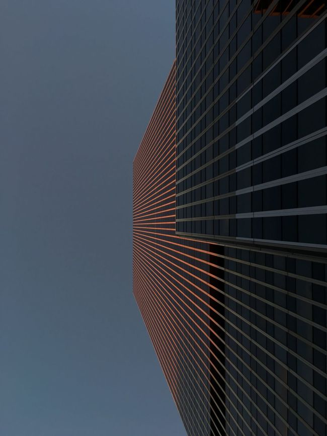 Architectural Feature Architecture Blue Building Exterior Building Story Built Structure City Clear Sky Copy Space Day Directly Below Low Angle View Modern New York City No People Office Building Outdoors Sky Skyscraper Tall Tall - High Tower Urban Skyline