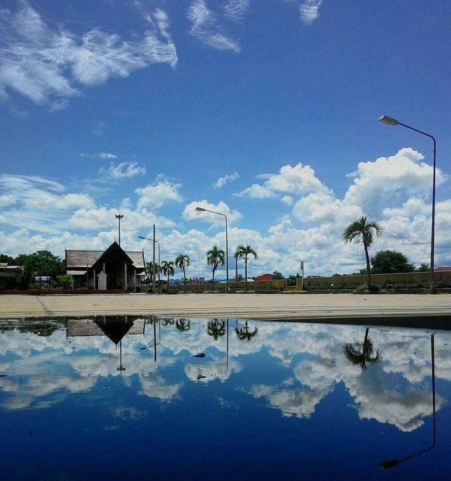 Reflection Mirror Image Mirror Picture Blue Sky Blue Sky And Clouds Blue Color White Color Blue Background White Clouds Clouds River Side Landscape NAN Thailand Bridge