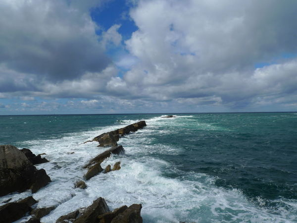 Cloud - Sky Cloudy Coastline Day Horizon Over Water Nature No People Non-urban Scene Outdoors Rock - Object Rock Formation Scenics Sea Seascape Sky Water Weather