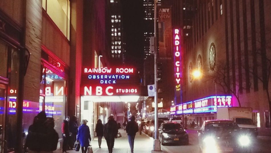 New York City New York Illuminated Night Rainbow Room NBC Studios Radio City Music Hall City Travel City Life Neon
