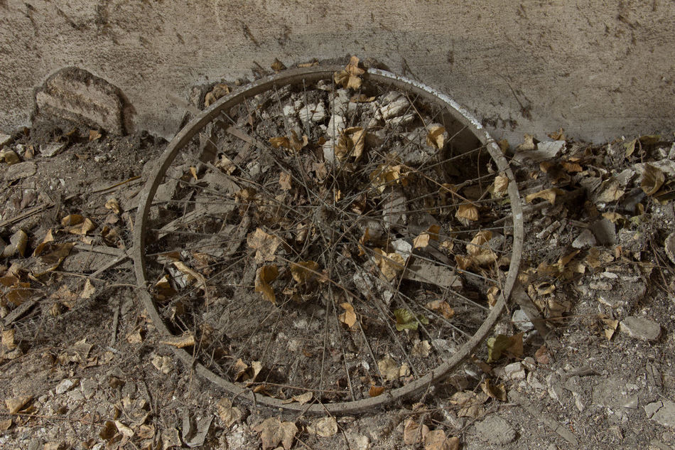 Abandoned Abandoned Buildings Abandoned Places Bicycle Wheel Day High Angle View Indoors  Nature No People Old Outdoors Wheel Art Is Everywhere