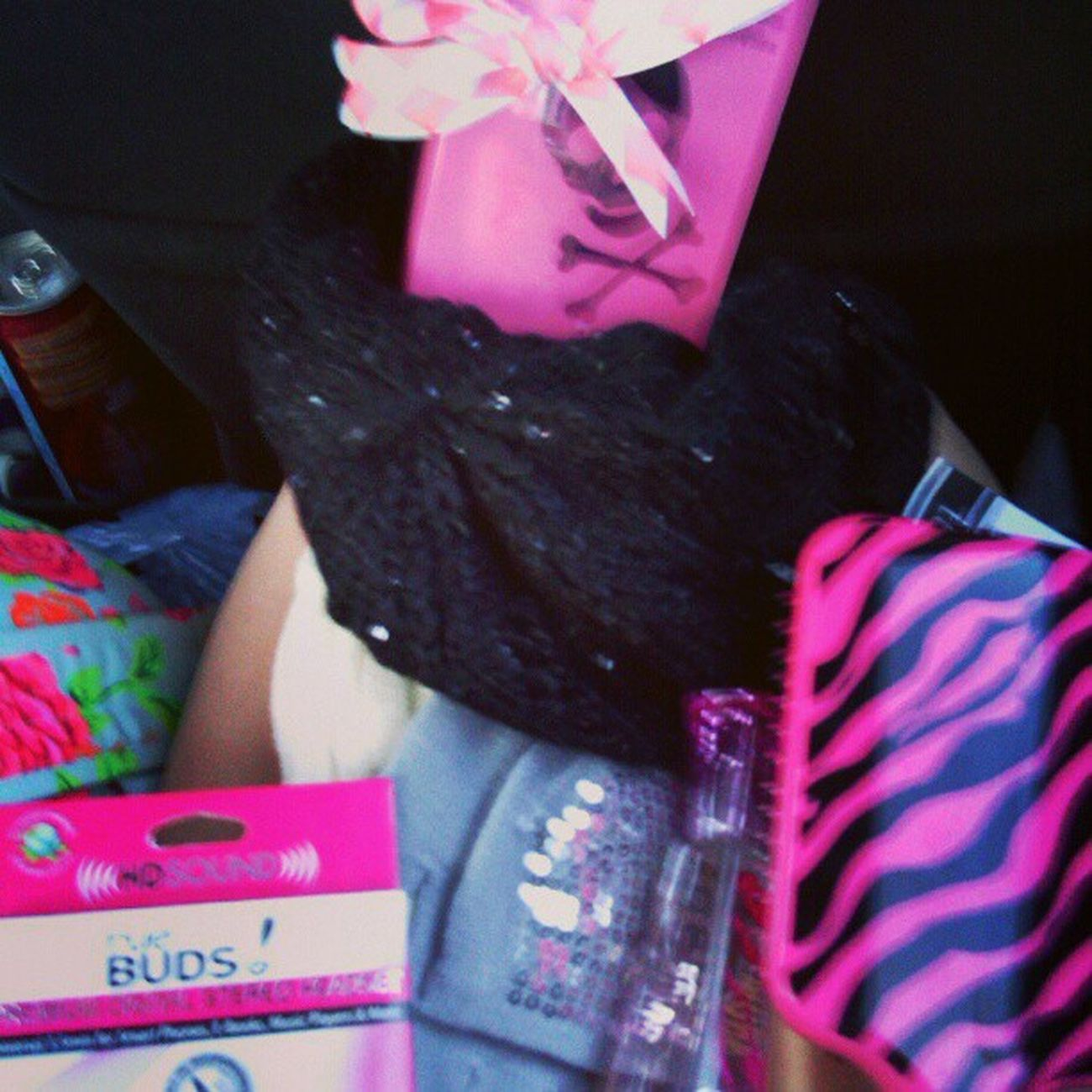 My brother spoils me <3 Inlove Legwarmers Hat Gloves perfume glitter brush headphones