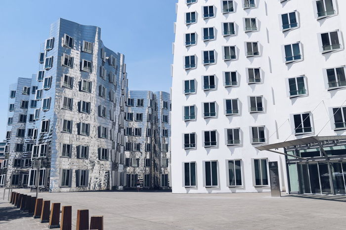 Architecture Building Exterior Outdoors City No People Travel Photography Eyeemphotography Street Photography Built Structure City Street Hafendusseldorf Zollhof EyeEm Gallery Architecture Skyscraper Day Sky