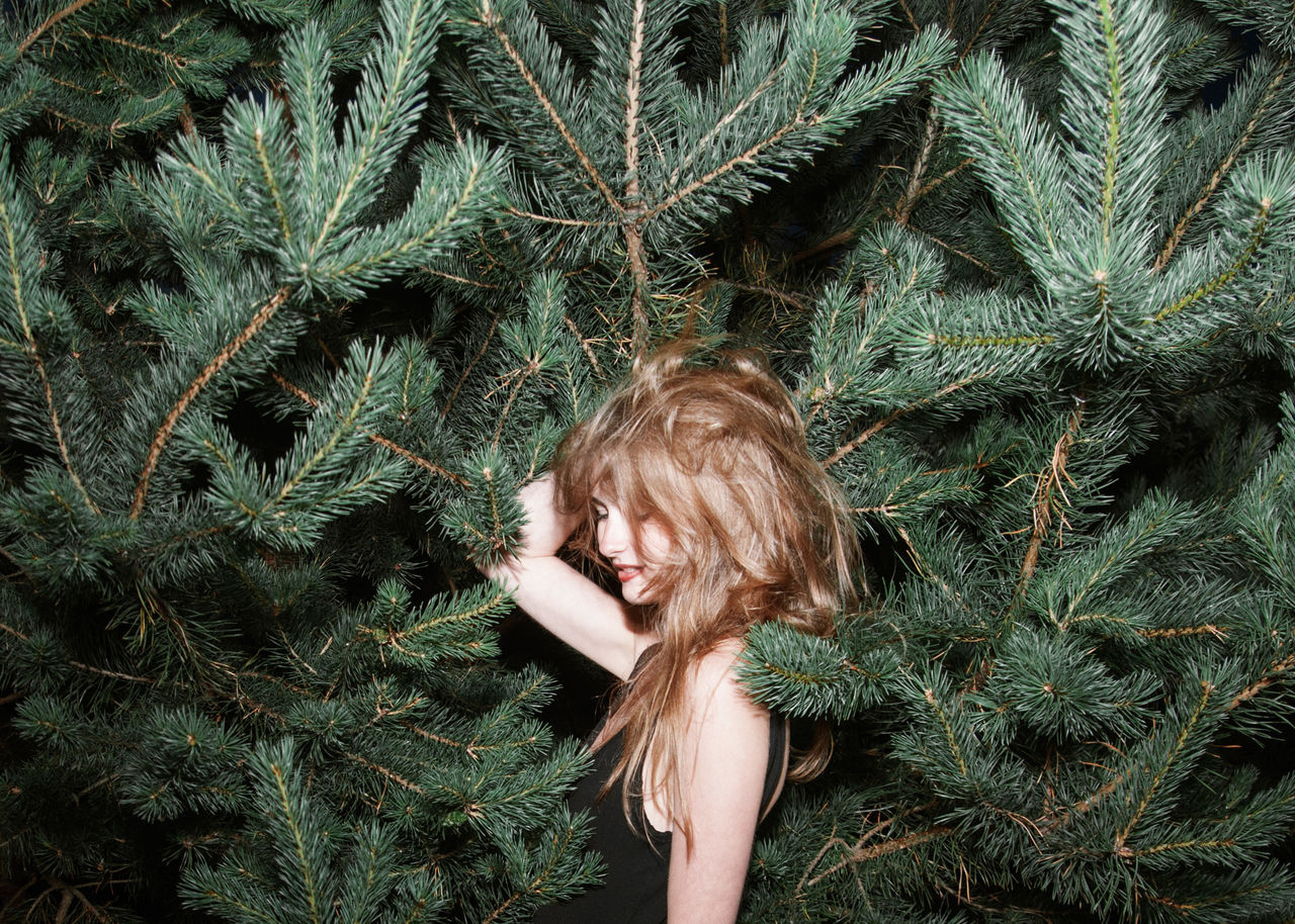 Hedgehog Concept Beauty Brunette Comfy  Conifers Evergreen Forest Girl Linas Was Here Long Hair Model Needles Smile Woods The Week On EyeEm