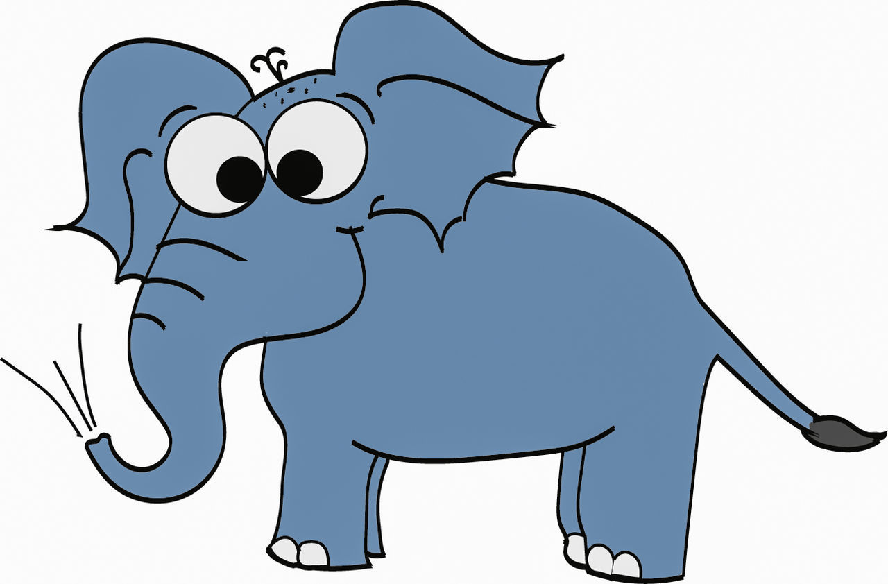 Have a nice day! 😀 Blue Elephant Drawing Cartoon Digital Painting Digital Art Art, Drawing, Creativity