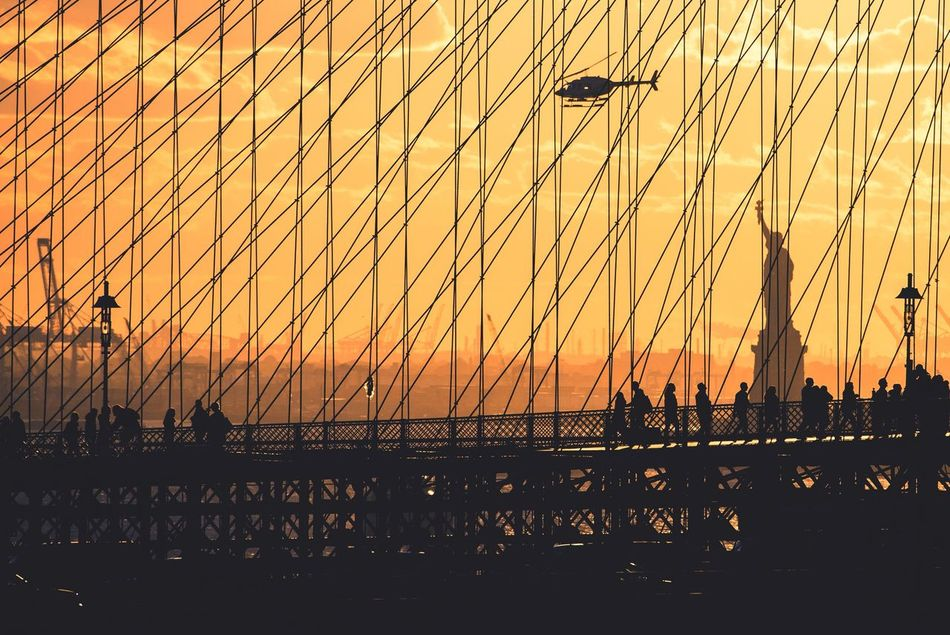 Beautiful stock photos of statue of liberty,  Beauty In Nature,  Bridge - Man Made Structure,  Famous Place,  Flying