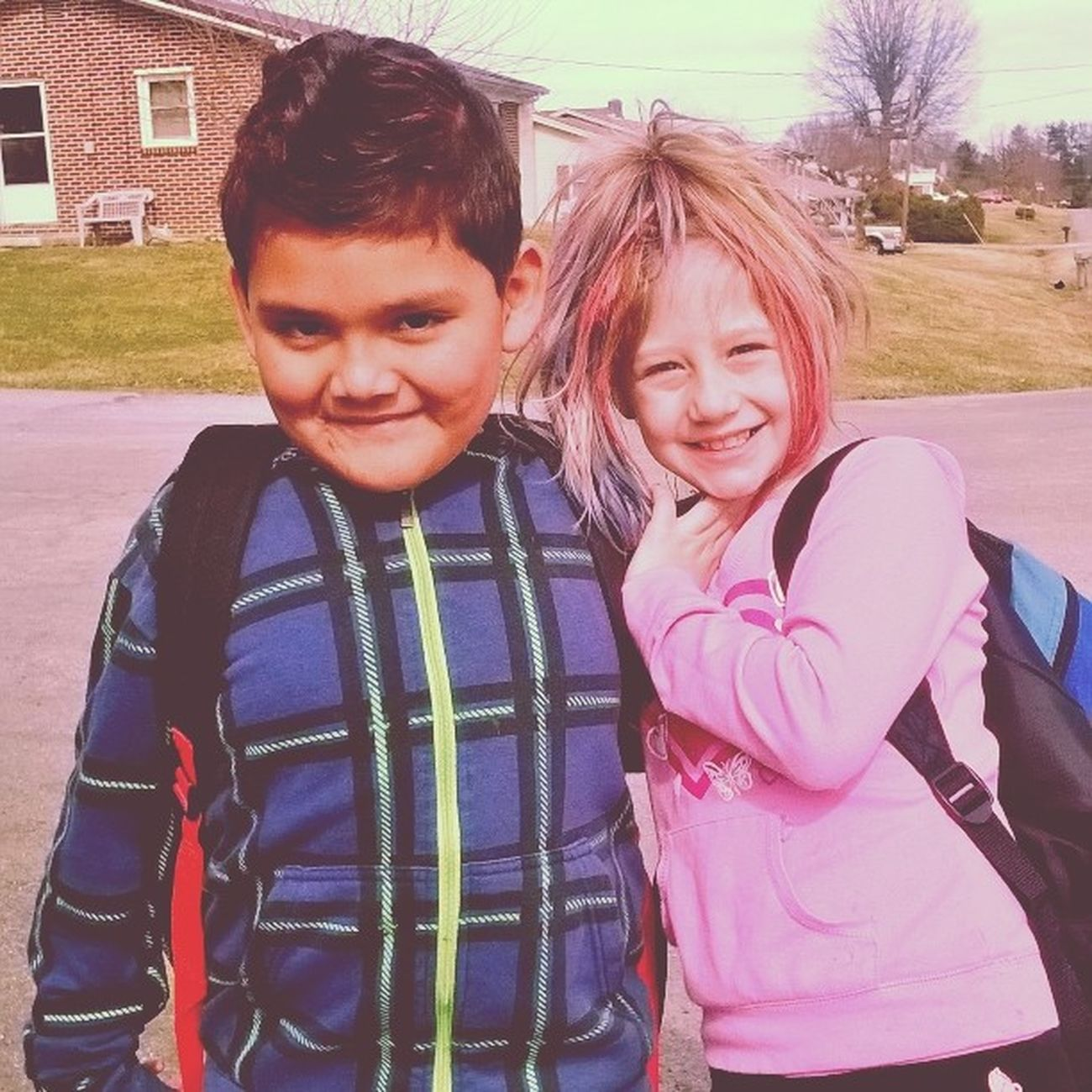 Crazy Hair Day at school. Ryan has a red faux hawk, but it's kinda hard to see. CrazyHairDay Fauxhawk Redpinkblue Sidepony besties schooldaze backpacks busstop