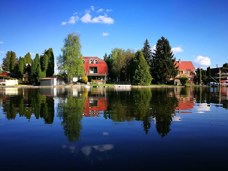 Relfexion Reflection Water Symmetry Sky Reflecting Water Tree Houses River Outdoors Blue Sky Blue