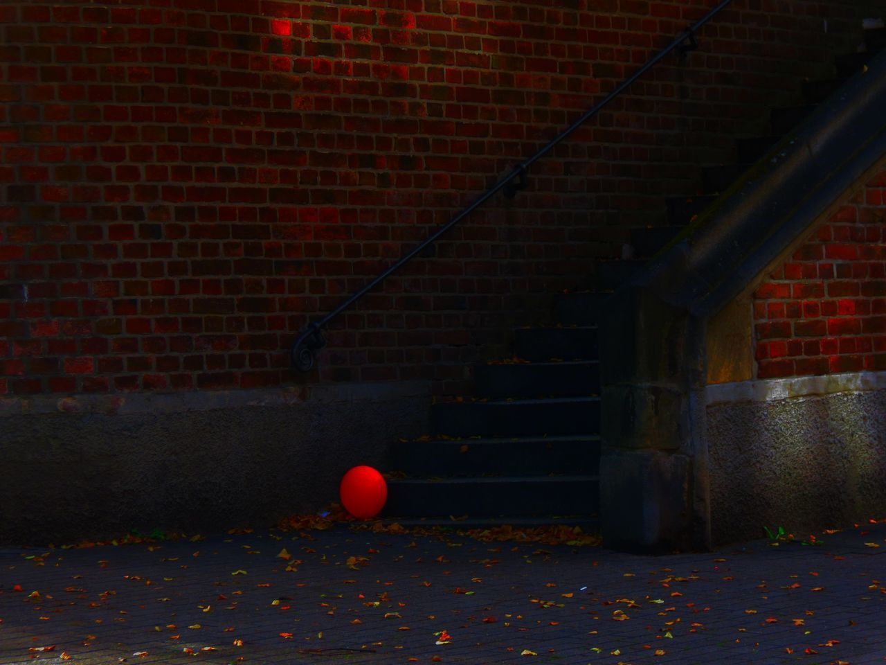 Ball Balloons Brick Wall Built Structure Red Red Balloon Stair Stairs