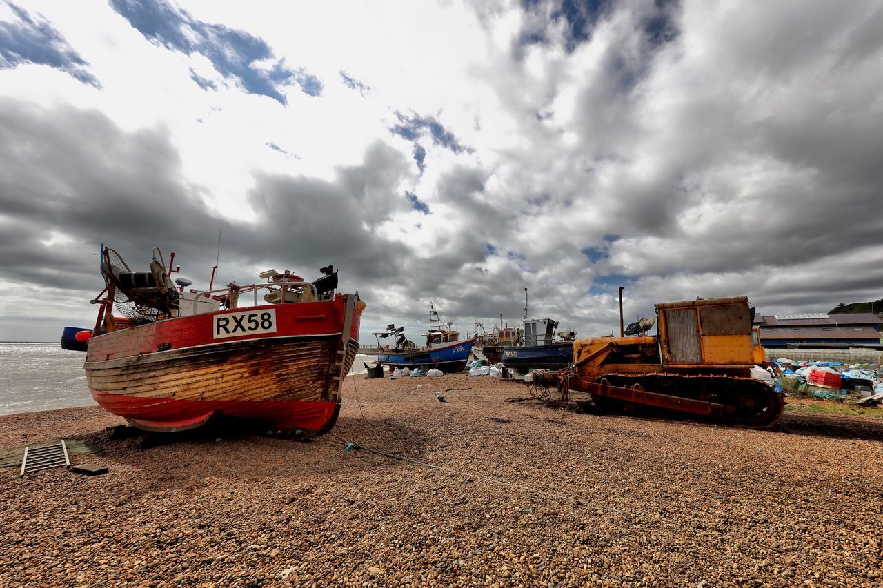 Hastings Transportation Nautical Vessel Mode Of Transport Cloud Cloud - Sky Boat Sky Cloudy Day Cloudscape Outdoors Sea Dramatic Sky Shore Clouds