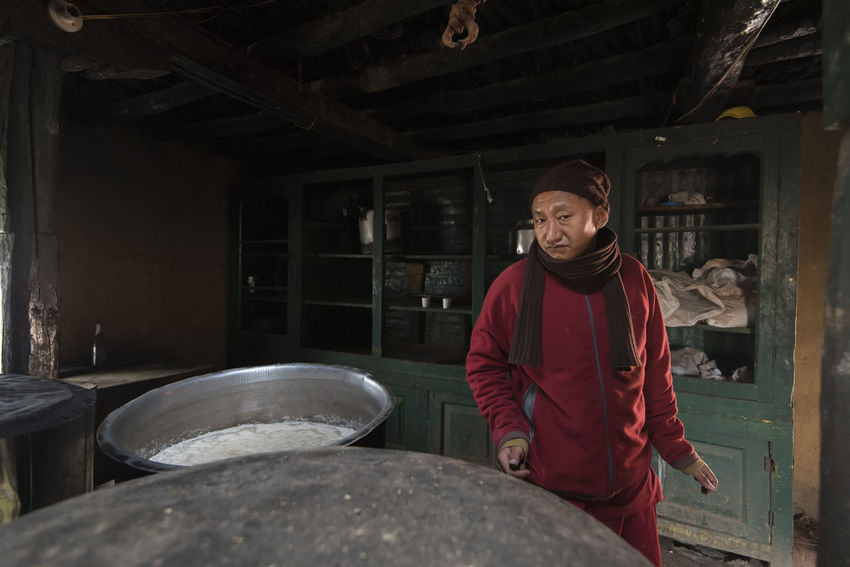 Beer Himachal Pradesh, India Monastery Spiti Valley India Travel Day Fermentation Front View Indoors  Komic Village Lifestyles Looking At Camera Monk  Occupation One Person People Portrait Real People Spiti Standing Young Adult