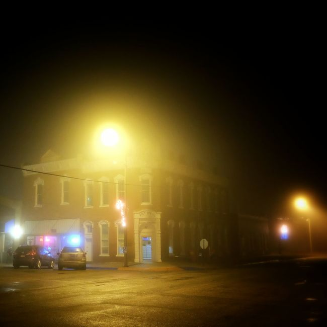 The fog is rolling in... Rural America Nightphotography Foggy Night Check This Out Nighttime Lights