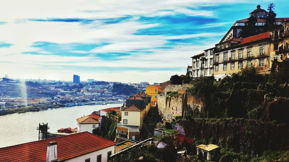 Oporto Architecture Building Exterior Sky Outdoors City Day Travel Destinations Cloud - Sky Cityscape No People EyeEm Phonecamera Tranquil Scene Samsung Galaxy S6 Edge PhonePhotography Out Of The Box Perspective Photography Portugal Nature River Douro  Sun EyeEm Best Shots Damn Nature
