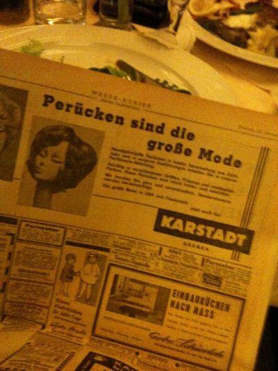"""""""Perücken sind die große Mode."""" Ein @weserkurier vom 25.01.1963"""