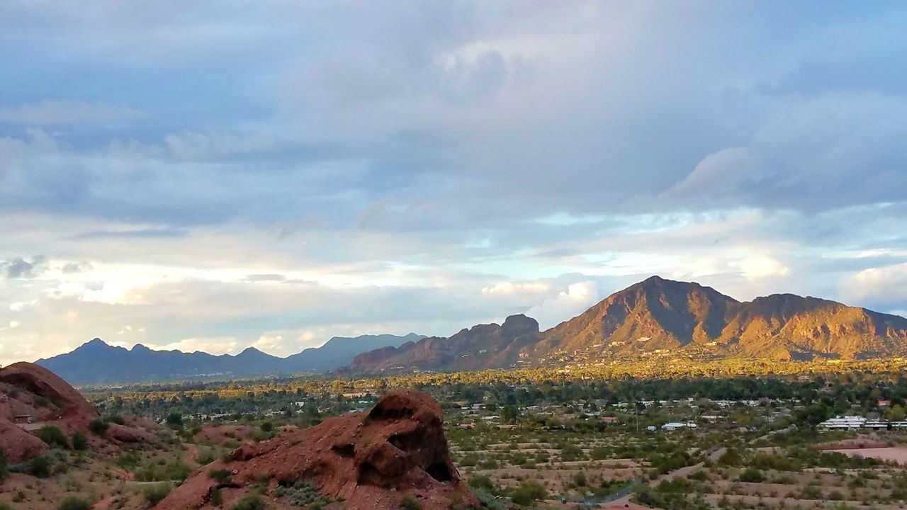 Camelback Mountain in the Sunlight And Shadows Mountain Range Sunset Cloud - Sky Beauty In Nature Outdoors Landscape Scenics