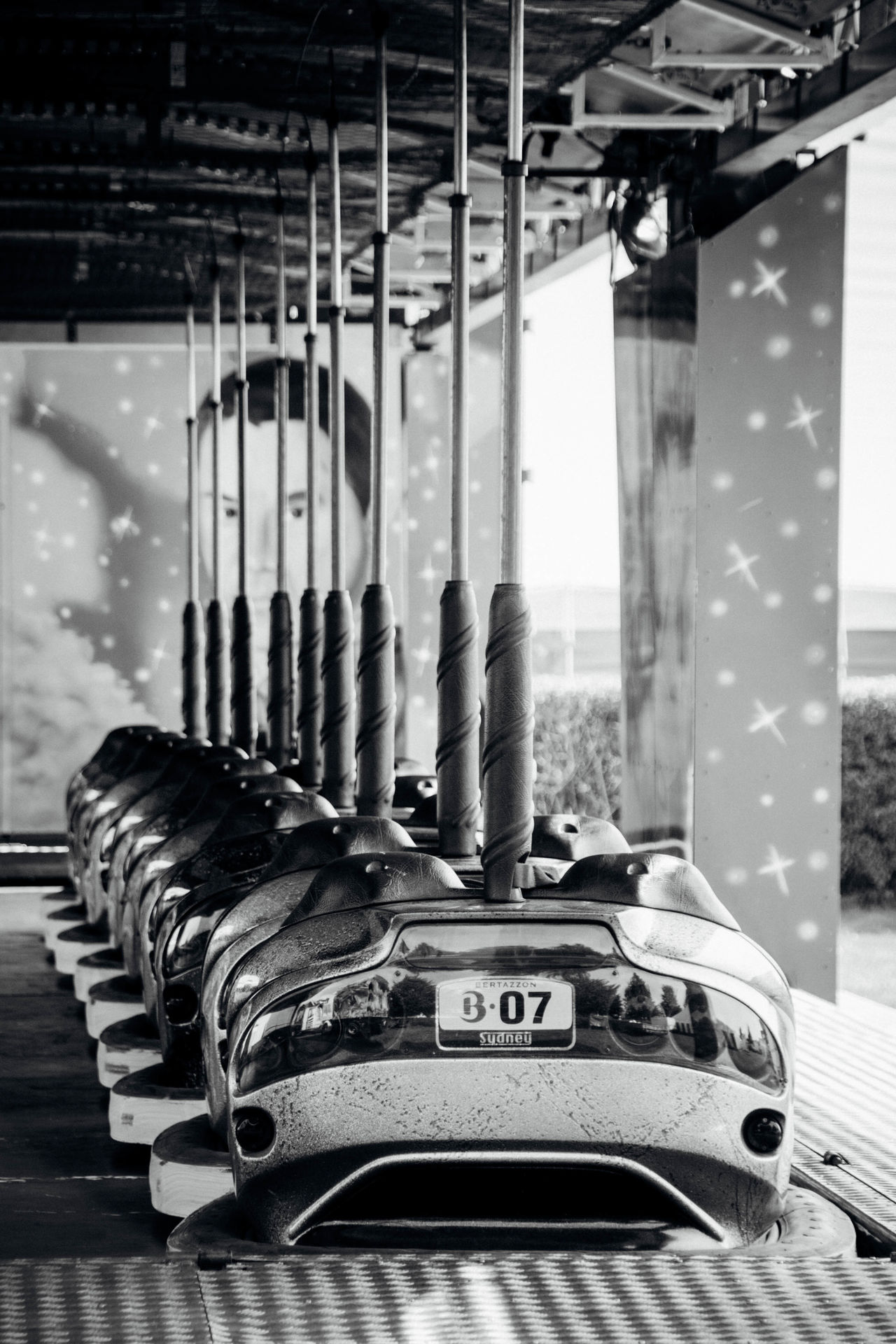 Blackandwhite Closed Dodgem Dodgem Cars Dodgems Fairground Fairground Attraction Fairground Ride Focus On Foreground In A Row No People Selective Focus