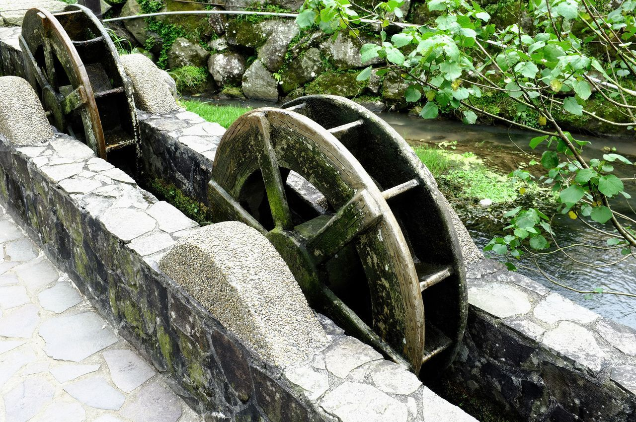 water, outdoors, no people, day, plant, watermill, pipe - tube, growth, nature, close-up, irrigation equipment