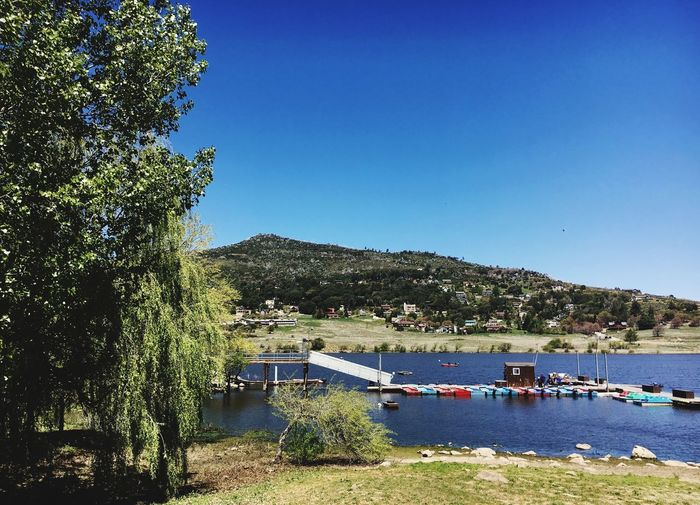 Blue Tree Clear Sky Day Outdoors Water Nautical Vessel Mountain Nature Built Structure No People Sunlight Beauty In Nature Tranquil Scene Moored Transportation Scenics Sea Architecture Building Exterior Cuyamaca State Park