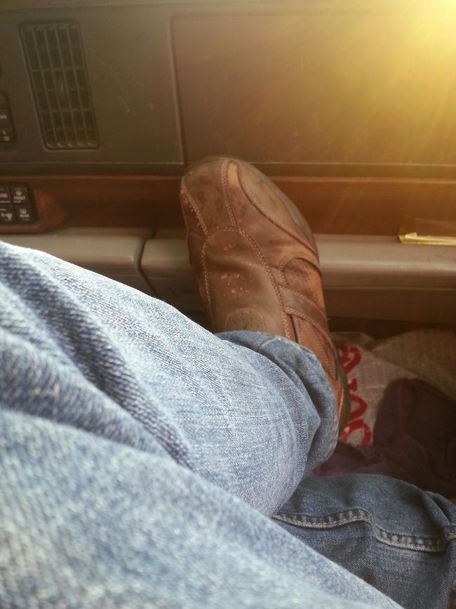 A surprisingly scenic shot I shot in my car (yes i always sit these weird ways 😂) ! Scenic Jeans Denim Casual Clothing Footwear Men Pants Close-up Comfortable Limb Personal Perspective Outdoors Car In The Car Leather Brown Leather Shoe Shoes Dude Male Model JK OMG Haha