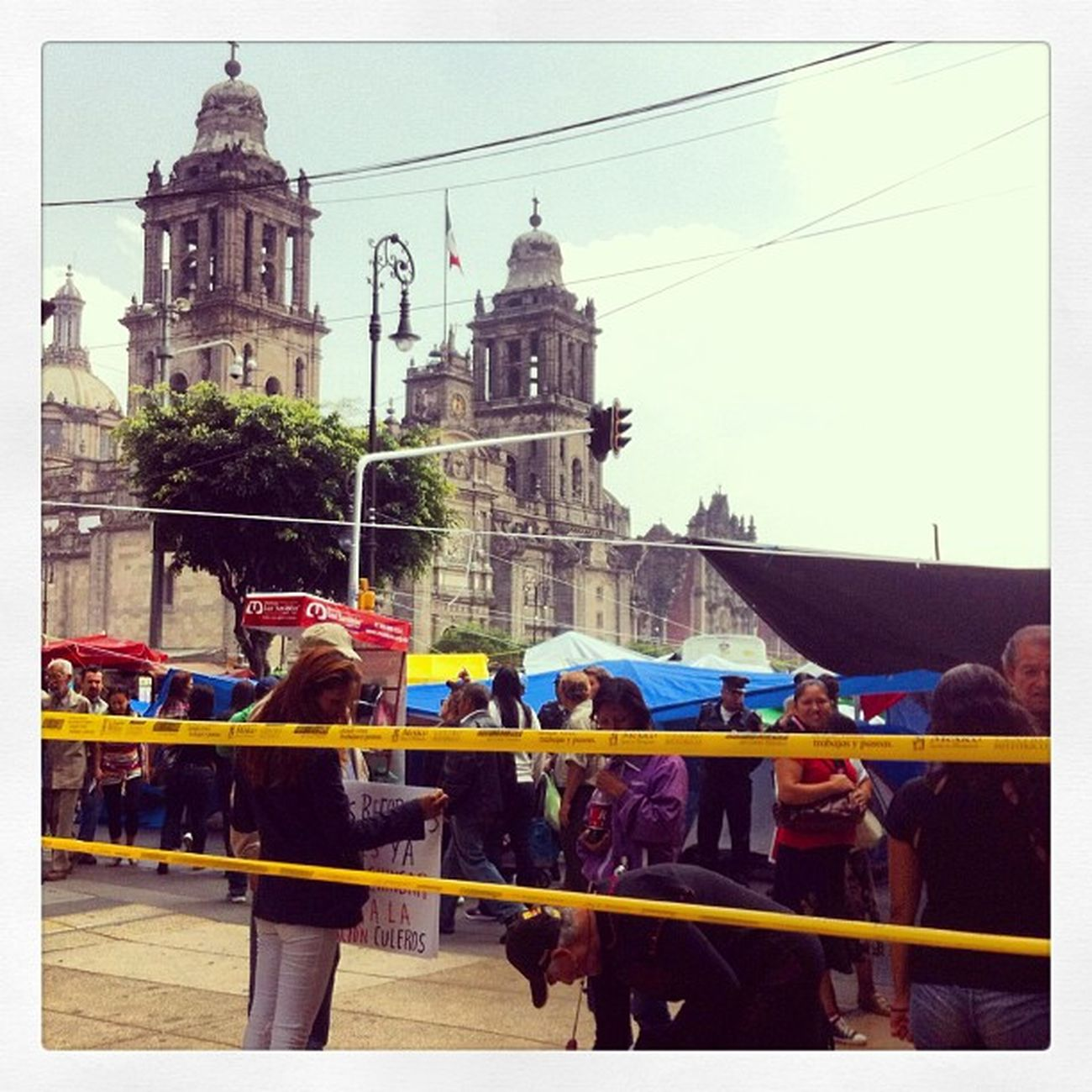 Mexico Zócalo Cnte Maestros punks df church iglesia blue downtown caution full morning people centro instapic septiembre