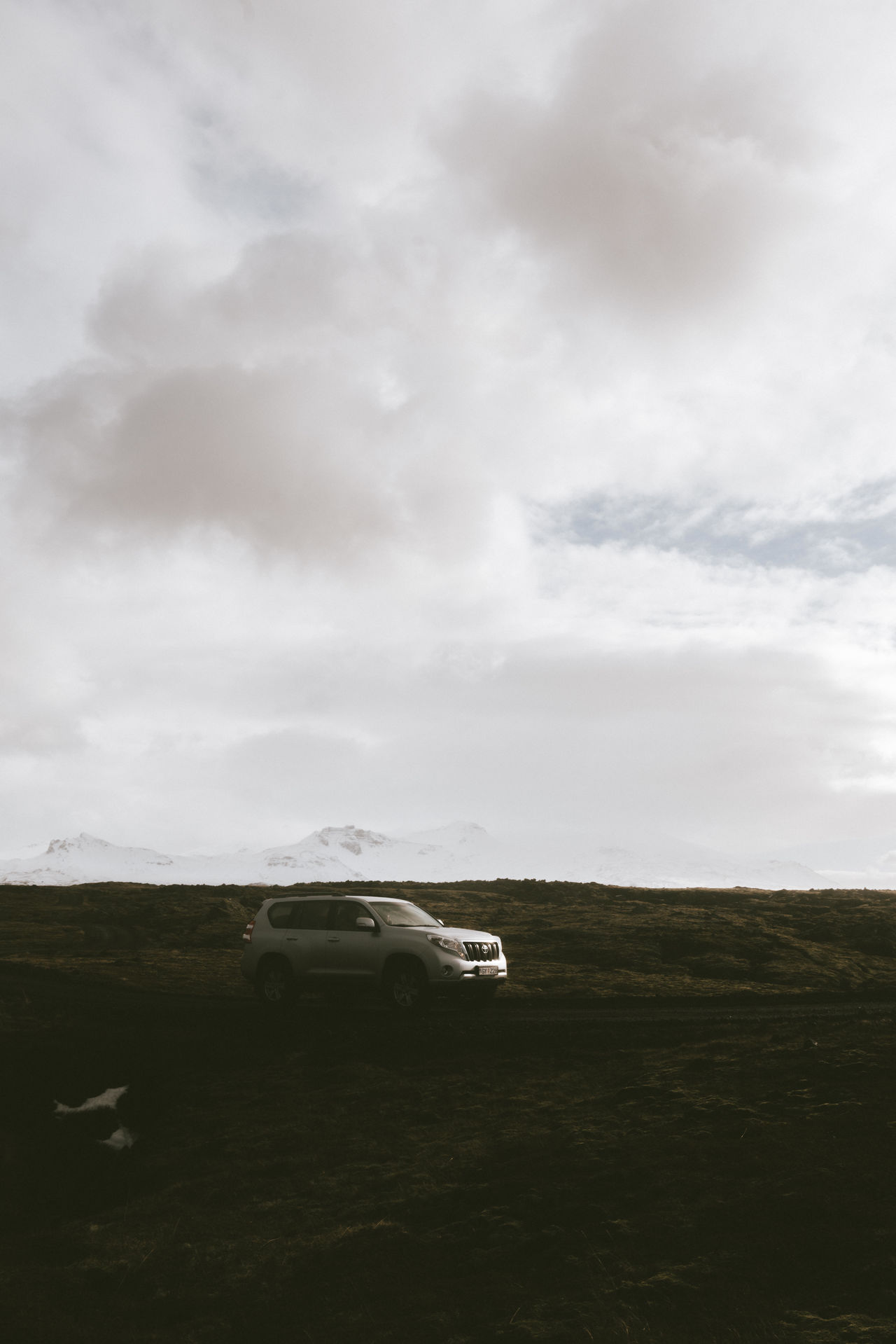 Car in the icelandic landscape 4x4 Airplane Beauty In Nature Car Cloud - Sky Day Field Grass Land Vehicle Landscape Mode Of Transport Nature No People Outdoors Sky Transportation