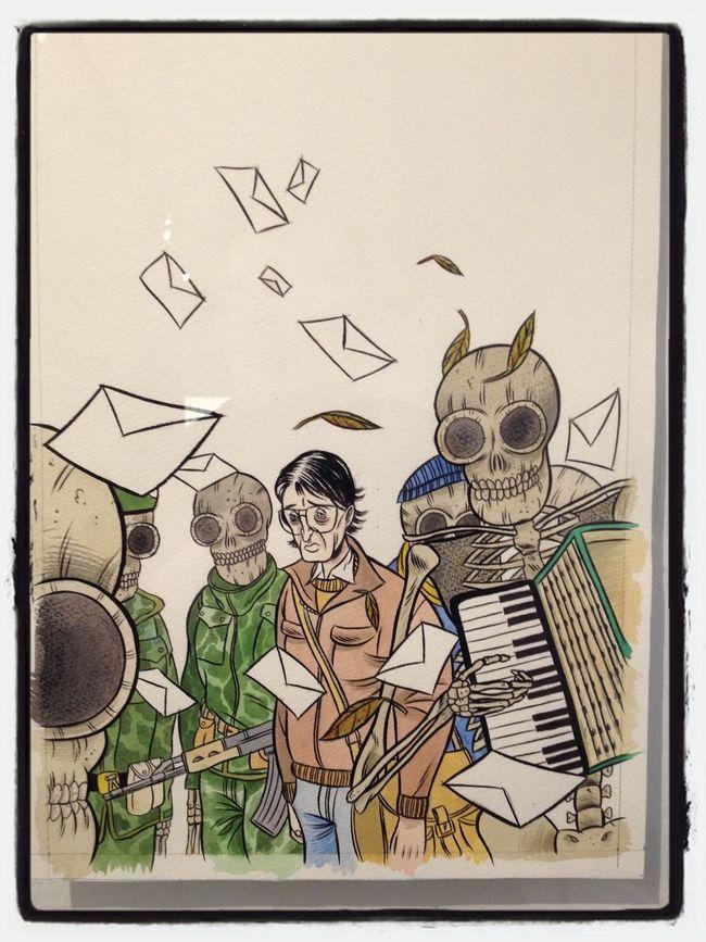 """Originale dell'illustrazione per la copertina di """"In fondo alla speranza"""" in mostra al Festival del Fumetto di Komikazen a Ravenna."""