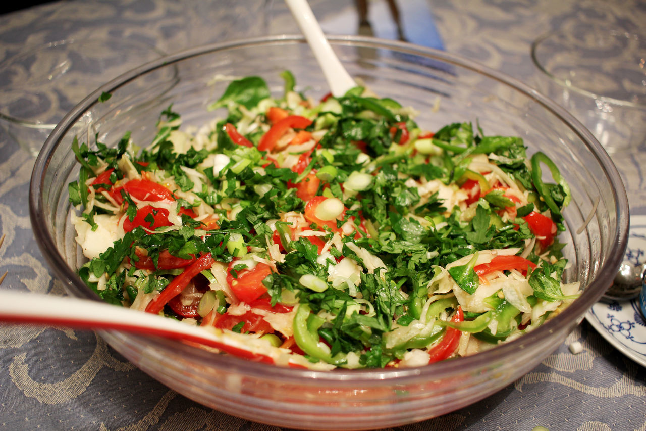 Salad bowl on a set table. Arugula Bowl Bowling Close-up Colourfull Day Food Food And Drink Food And Drink Freshness Good Food Good Taste Healthy Healthy Eating Indoors  Ingredient No People Ready-to-eat Salad Salad Salad Bowl Sand Serving Size Tasty Vegetarian Food