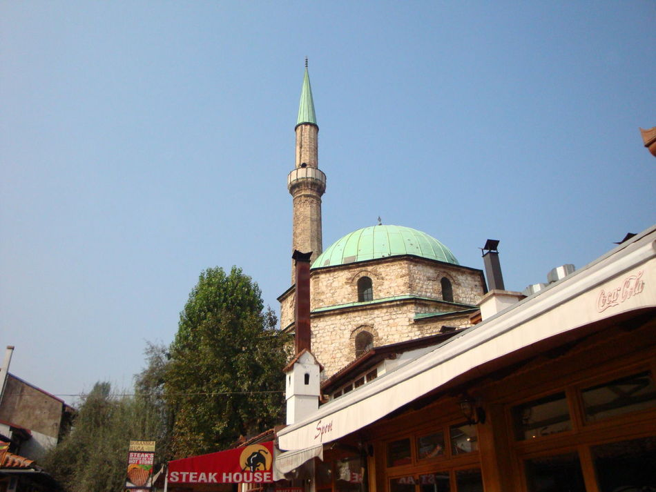 Architecture Bascarsija Blue Bosnia And Herzegovina Building Exterior Built Structure Clear Sky Day Dome Exterior Low Angle View Mosque No People Outdoors Place Of Worship Sarajevo Sky Tourism Travel Destinations