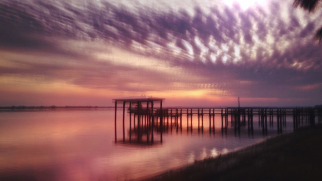 Sunset Sky Nature Sea Water Beauty In Nature Tranquility Scenics Tranquil Scene Pier Idyllic Cloud - Sky Outdoors No People Horizon Over Water Day Getting Away From It All Florida Water Reflections United States Landscape Finding New Frontiers EyeEm Best Shots