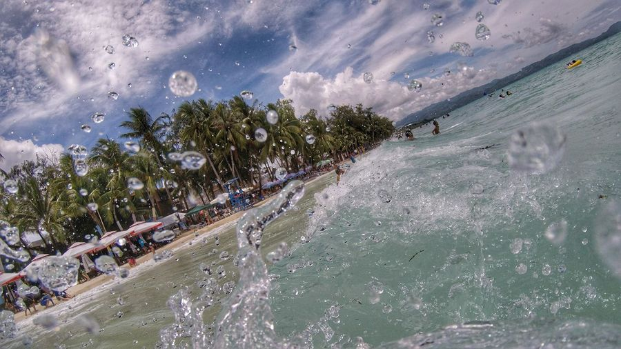 Sky Sky And Clouds Water Outdoors Nature Tree Day Beauty In Nature Freshness EyeEm Gopro GoPrography Capturedmoments Beach Beachphotography Waves Waterdrops Beach Life Boracay Philippines Boracay BoracayIsland The Great Outdoors - 2017 EyeEm Awards